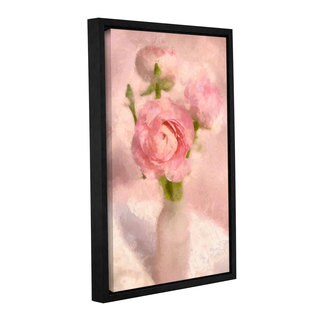 Cora Niele's ' Bottle Pink Flowers' Gallery Wrapped Floater-framed Canvas
