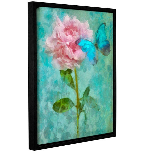 Cora Niele's ' Butterfly Rose 1' Gallery Wrapped Floater-framed Canvas - Blue