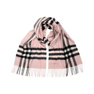 Burberry Pink Giant Check Plaid Cashmere Scarf