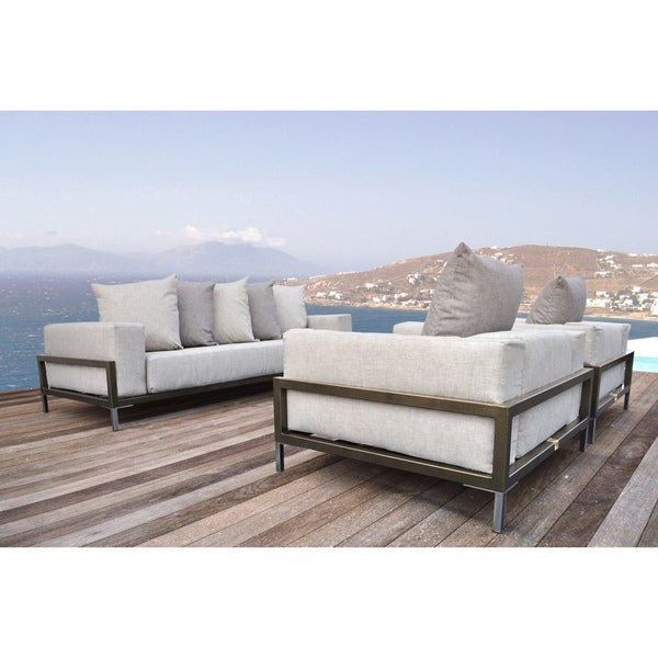 shop solis nubis sofa set indoor outdoor deep seated 3 piece set 1 sofa 2 lounge chairs on. Black Bedroom Furniture Sets. Home Design Ideas