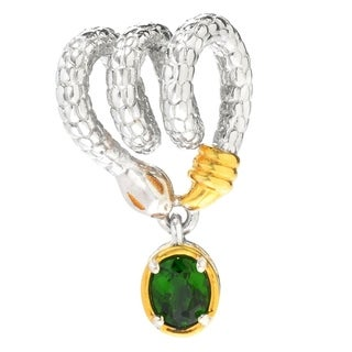 Michael Valitutti Palladium Silver Chrome Diopside Coiled Snake Drop Charm