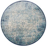 "Traditional Light Blue/ Ivory Medallion Distressed Round Rug - 7'10"" x 7'10"""