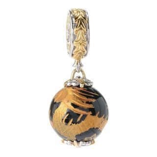 Michael Valitutti Palladium Silver Black Onyx Bead Painted Dragon Drop Charm