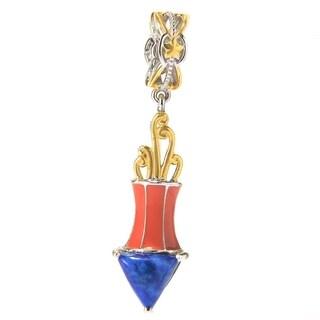 Michael Valitutti Palladium Silver Lapis Lazuli & Enamel Firework Drop Charm