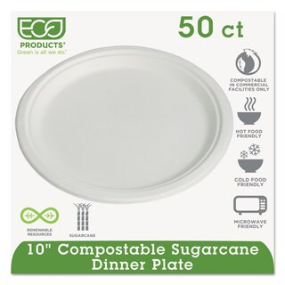 Eco-Products Sugarcane Dinnerware 10-inch Plate Natural White 50/Pack 10 Pack/Carton
