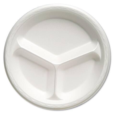 Genpak Foam Dinnerware Plate 3-Comp 10 1/4 inches dia White 125/Pack 4 Packs/Carton