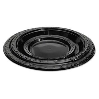 Genpak Silhouette Black Plastic Plates 10 1/4 Inches Round