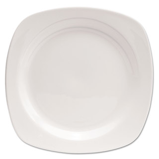 Office Settings Chef's Table Porcelain Square Dinnerware Plate 10 1/2-inch Diameter White 8/Box