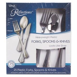 WNA Heavyweight Plastic Cutlery Combo: Fork Knife Spoon; Silver 450/Carton
