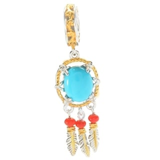 Michael Valitutti Palladium Silver Sleeping Beauty Turquoise and Red Bamboo Coral Dreamcatcher Drop Charm