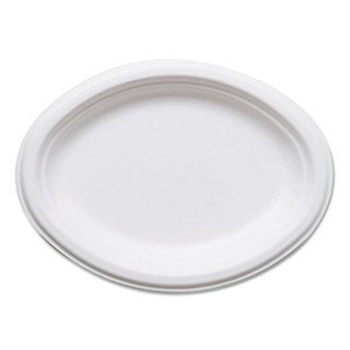 Eco-Products Renewable Sugarcane Plates Oval- 10-inch x 7-inch 50/Pack 10 Pack/Carton