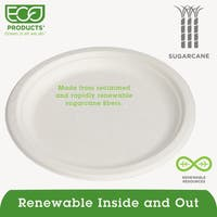 Eco-Products Renewable Sugarcane Plates Convenience Pack 9 inches 50/Pack 10 Pack/Carton