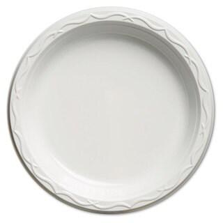 Genpak Aristocrat Plastic Plates 9 Inches White Round 125/Pack