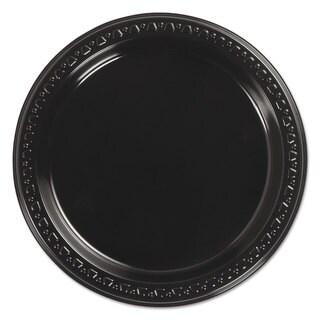 Chinet Heavyweight Plastic Plates 7 inches Diameter Black 125/Pack 8 Packs/Carton