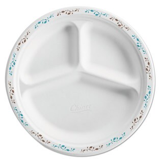 Chinet Molded Fiber Plate 10 1/4-inch 3-Comp White with Vine Theme 500/Carton