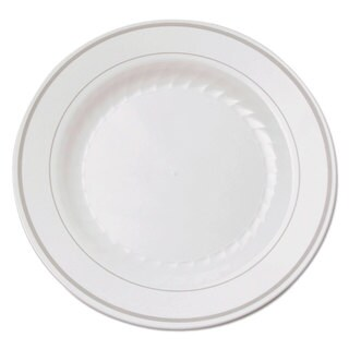 WNA Masterpiece Plastic Plates 6 in. White with Silver Accents Round 120/Carton