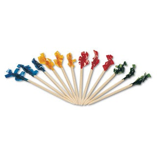 Royal Regular Cellophane-Frill Wood Picks 2 3/4-inch Assorted 100/Box 10 Boxes/Carton