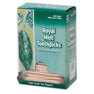 Royal Mint Cello-Wrapped Wood Toothpicks 2 3/4-inch Natural 1000/Box 15 Boxes/Carton