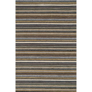 Hand-hooked Barrow Grey/ Multi Striped Wool Rug (7'6 x 9'6)