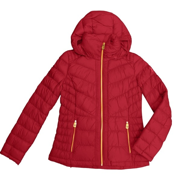 MICHAEL Michael Kors Red Nylon and Down Chevron Quilted Hooded Packable