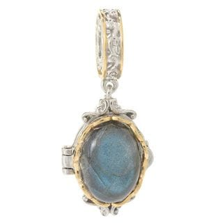 Michael Valitutti Palladium Silver Gemstone Locket Drop Charm