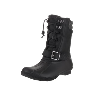 Sperry Top-Sider Women's Saltwater Misty Black Leather Boots