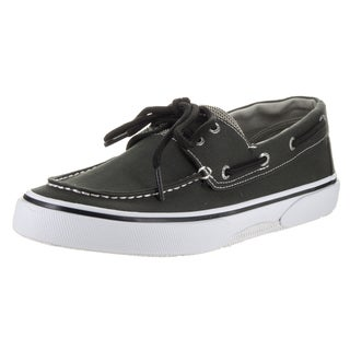 Sperry Top-Sider Men's Halyard 2-eye Black and White Canvas Boat Shoes