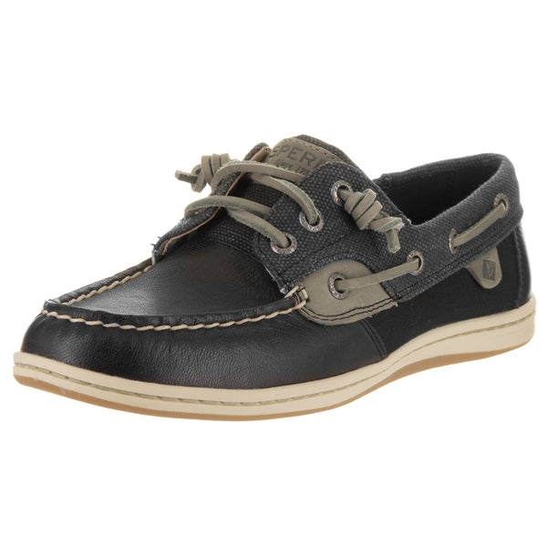 Shop Sperry Top-Sider Women s Songfish Black Leather Waxy Boat Shoes ... fc3ea7204