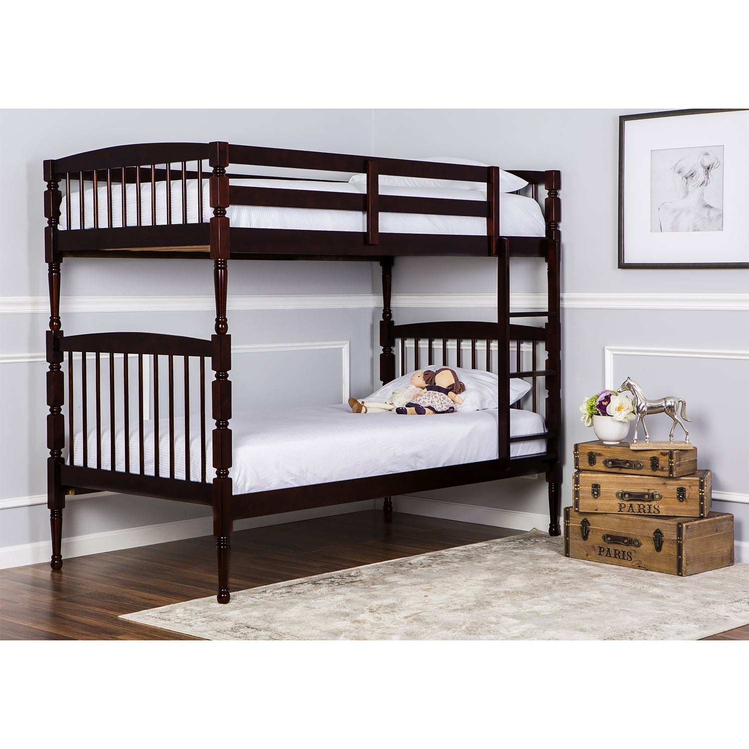 Dreamonme Julia 2-in-1 Twin Over Twin Bunk Bed (Cherry), Red