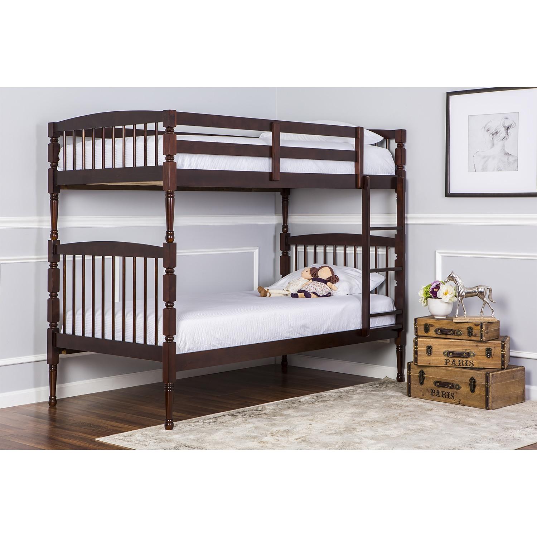 Dreamonme Julia 2-in-1 Twin Over Twin Bunk Bed (Espresso)...