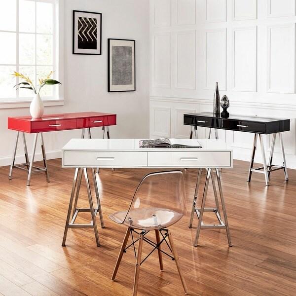 Neron 2 Drawer Chrome Leg Sawhorse Desk By Inspire Q
