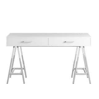Neron 2-Drawer Chrome Leg Sawhorse Desk by INSPIRE Q