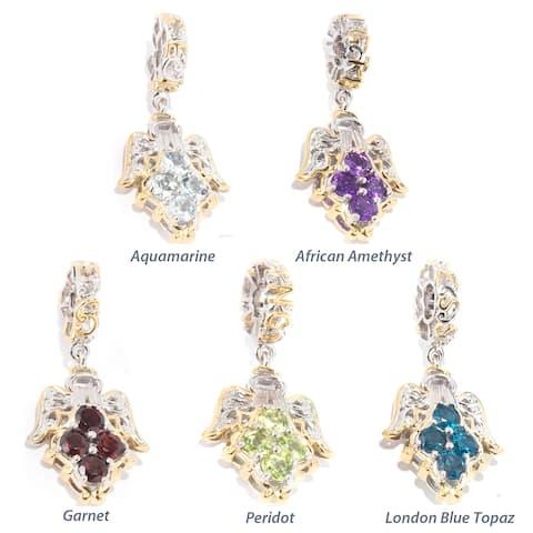 Michael Valitutti Palladium Silver Cluster Angel Gemstone Charm
