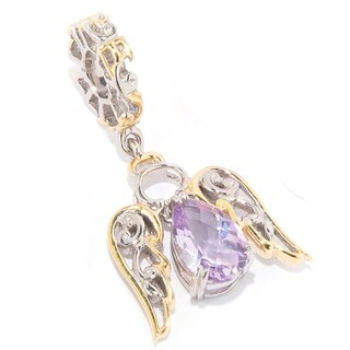 Michael Valitutti Palladium Silver Pearshaped Single Gemstone Angel Charm