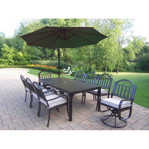 Dining Set with Table, 6 Chairs, 2 Swivel Chairs, Umbrella and Base
