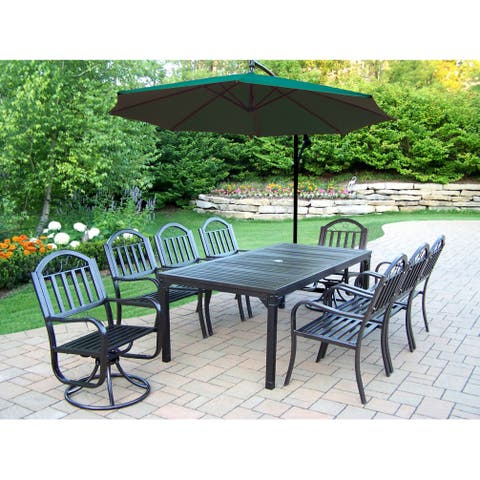 10-Pc Dining Set with 1 Table, 6 Chairs, 2 Swivels, 1 Umbrella w/ Base