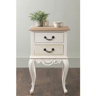 East At Main's Grayville White Square Teakwood Accent Table