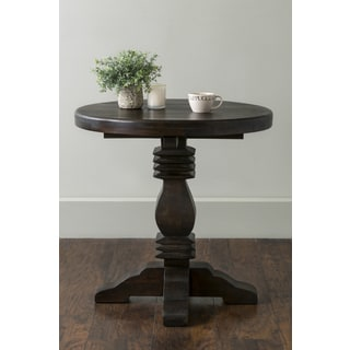 East At Main's Gates Brown Round Teakwood Accent Table