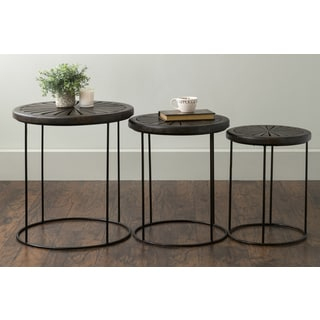 East At Main's Bartlett Brown Round Mango Wood Accent Nesting Table