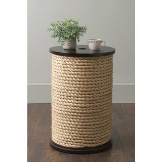 East At Main's Deshler Beige Round Teakwood and Jute Accent Table