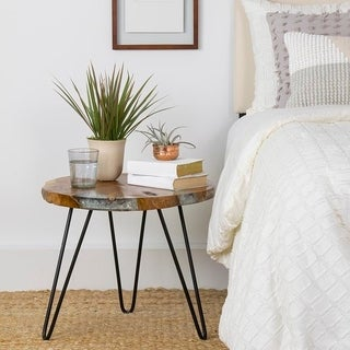 East At Main's Wellton Brown Round Teakwood Accent Table
