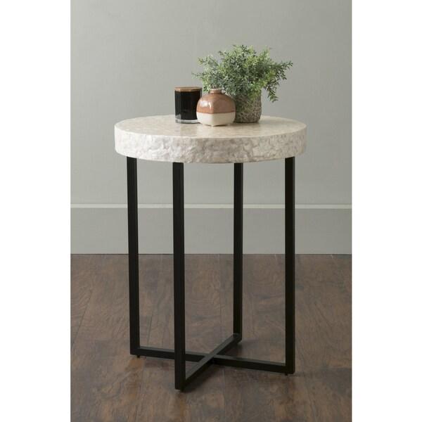 Round White Capiz Coffee Table: Shop East At Main's Renova Off-White Round Wood And Capiz