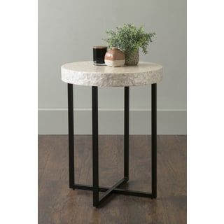 East At Main's Renova Off-White Round Wood and Capiz Accent Table
