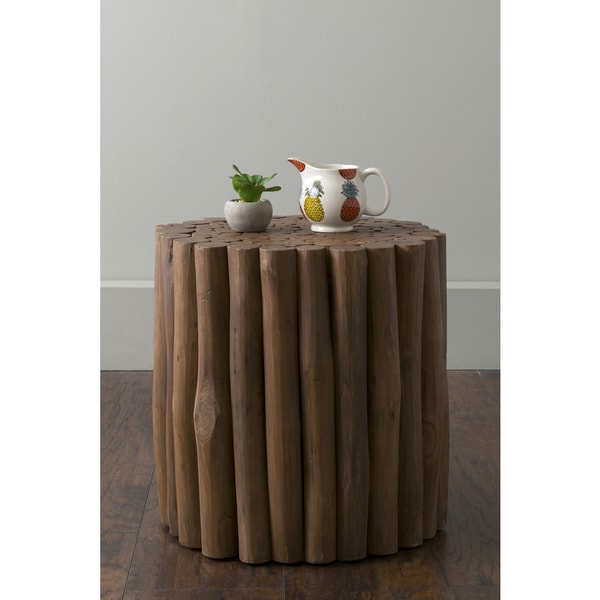 East At Main's Mathiston Brown Round Teakwood Accent Table/Stool