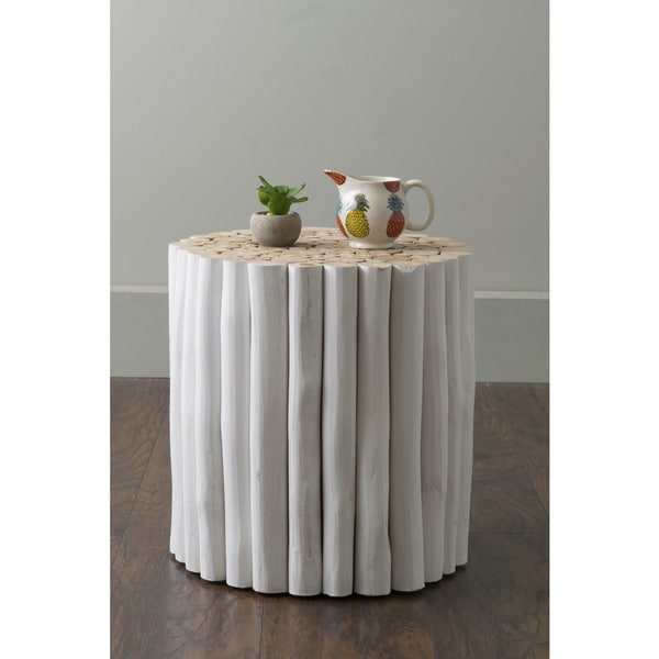 East At Mainu0026#x27;s Stanley White Round Teakwood Accent Table/Stool