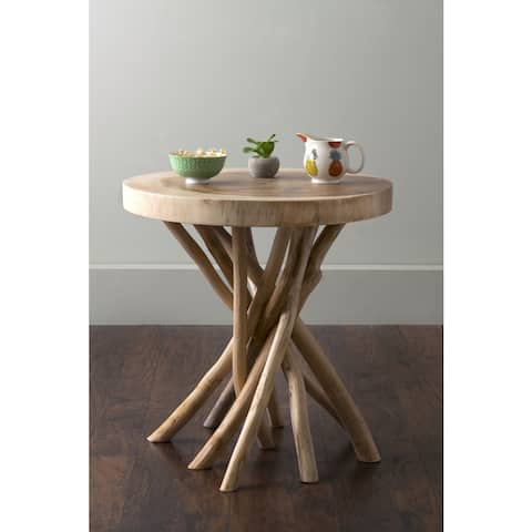 East At Main Merrill Brown Round Teakwood Accent Table