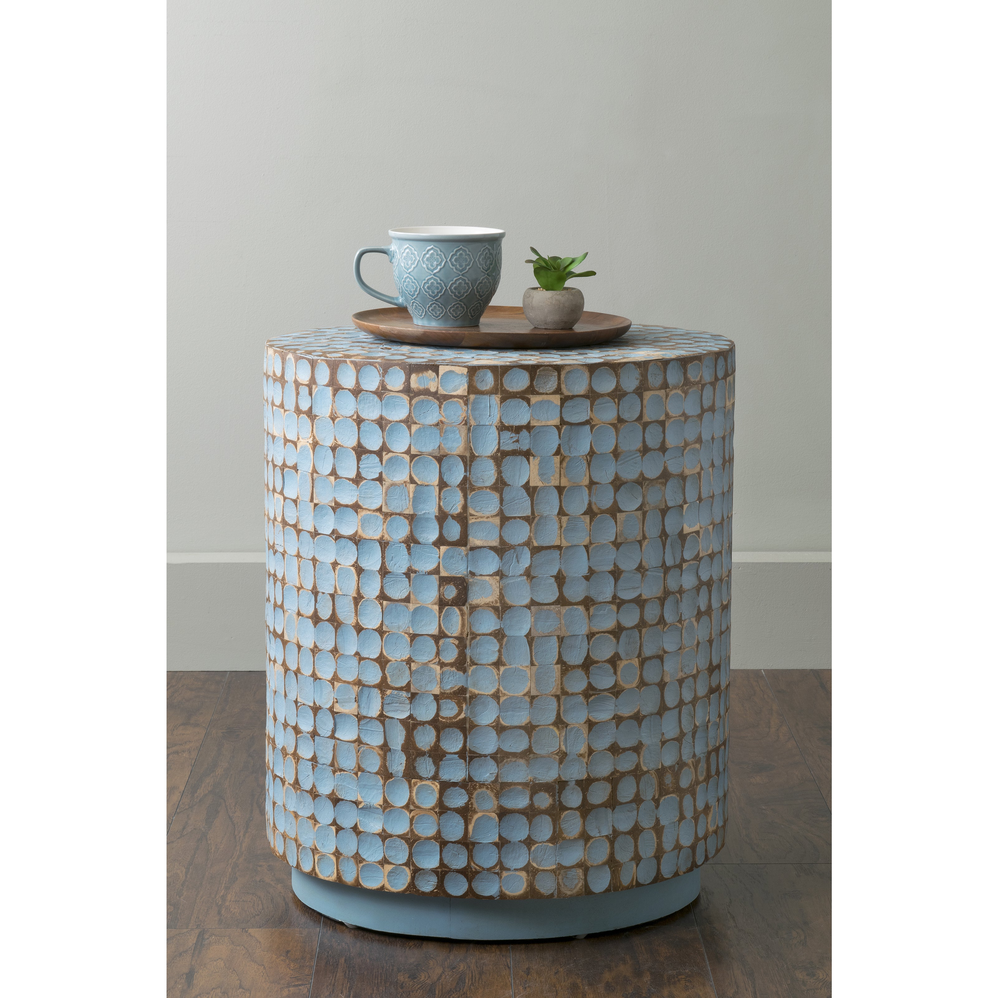 East At Main's Brillion Blue Round Coconut Shell Accent T...