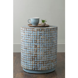 East At Main's Brillion Blue Round Coconut Shell Accent Table