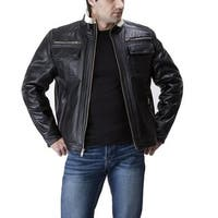United Men's Face Black Leather Jacket with Faux Shearling