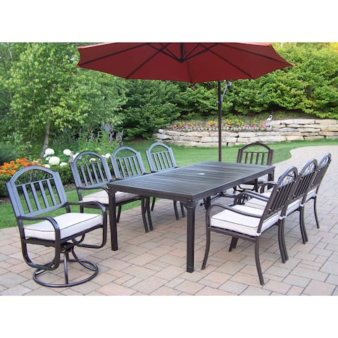 Hometown Cushioned 10-Piece Outdoor Dining Set with 10 ft Umbrella